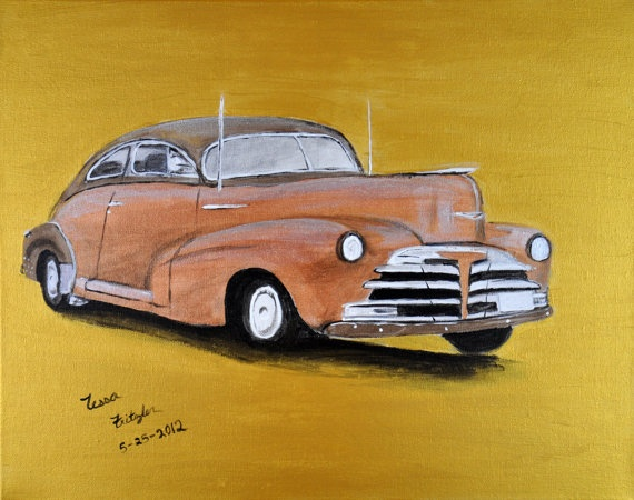 The Old Chevy in Copper and Gold acrylic by MemoriesByTessa, $300.00  Use coupon code HOLIDAY for 25% off