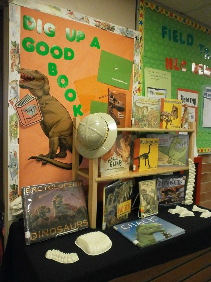 Dinosaur Book Display/ bulletin board. May be good for Dig into Reading summer reading program