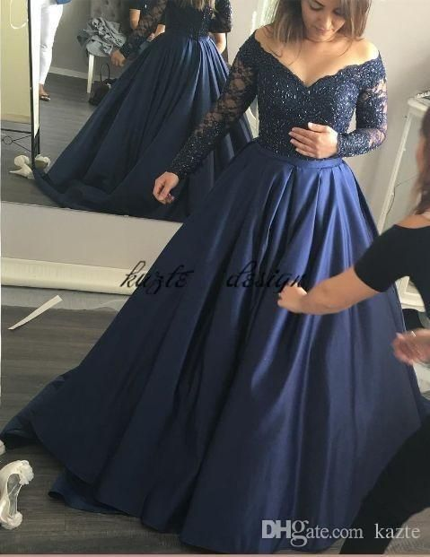 7db643a6041 Plus Size Prom Dresses Dark Navy Blue Satin Lace Off The Shoulder A-line  Long Sleeves Formal Evening Party Gowns Custom Made Mermaid Wedding Dress  Long ...