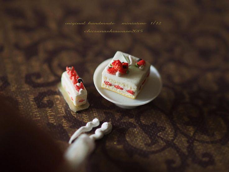 "3,954 Likes, 52 Comments - Kiyomi (@chiisanashiawase2015) on Instagram: ""❤︎ ・ original handmade miniature cake size 1/12 . 生クリーム絞り。 キレイなラインが出来ず、苦戦中😢 詰めるクリームがゆるすぎるのか、…"""