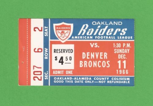 Vintage OAKLAND RAIDERS Denver Broncos TICKET STUB December 11 1966 Football