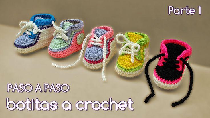 Tutorial para realizar escarpines a crochet para bebe. Paso a paso de varios talles. Plantillas 8, 9 y 10 cm Si te gusto el video suscríbete a mi canal. Para...