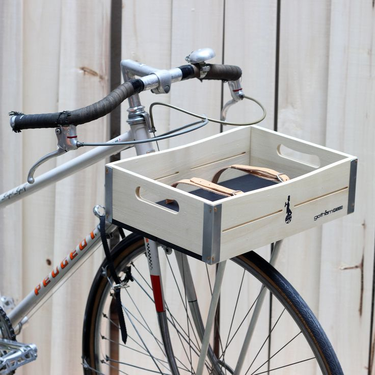 wooden bicycle basket by gothamcargo in natural&black color combination