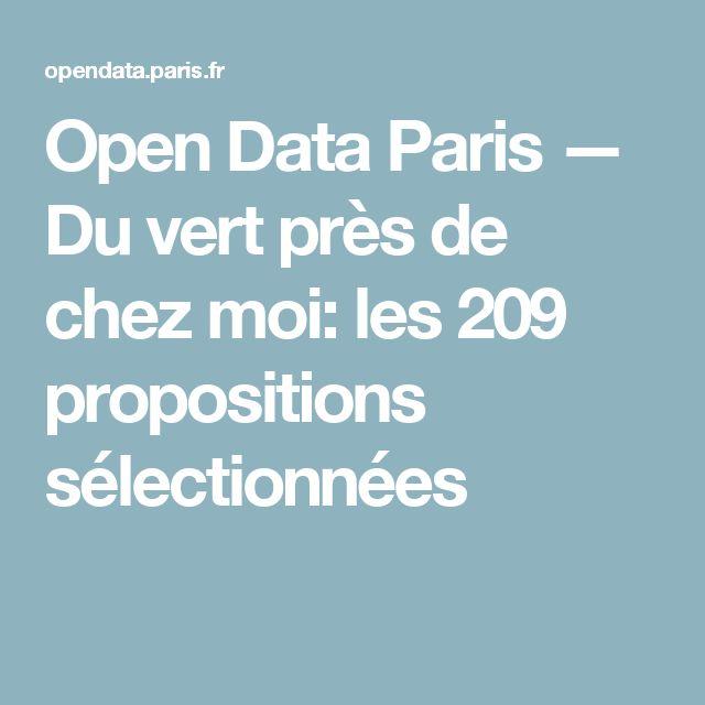Open Data Paris — Du vert près de chez moi: les 209 propositions sélectionnées