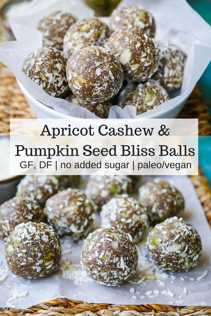 Apricot Cashew Pumpkin Seed Bliss Balls   Tasty, chewy and nutritious apricot cashew pumpkin seed bliss balls are so easy to make. Gluten free, dairy free, no added sugar and high protein. Recipe via nourisheveryday.com