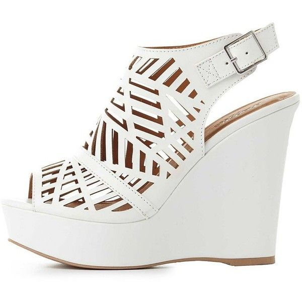 Charlotte Russe Laser Cut Wedge Sandals ($25) ❤ liked on Polyvore featuring shoes, sandals, white, white sandals, wedge sandals, wedge heel sandals, open toe wedge shoes and buckle sandals