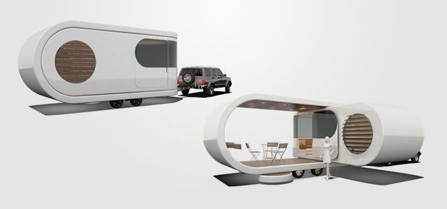 Modular caravan expands for more spacious living quarters, could also create a great brand space.