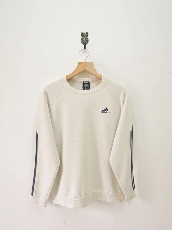 Vintage Adidas strepen minimalistische Sweatshirt Casual Hip Hop Street Wear trui crème kleur maat M