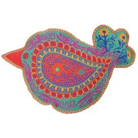 """Embroidered felt cushion with a bird silhouette motif in blue, orange, and purple.   Product: CushionConstruction Material: FeltColor: LimeDimensions: 12"""" x 30""""Cleaning and Care: Spot clean"""