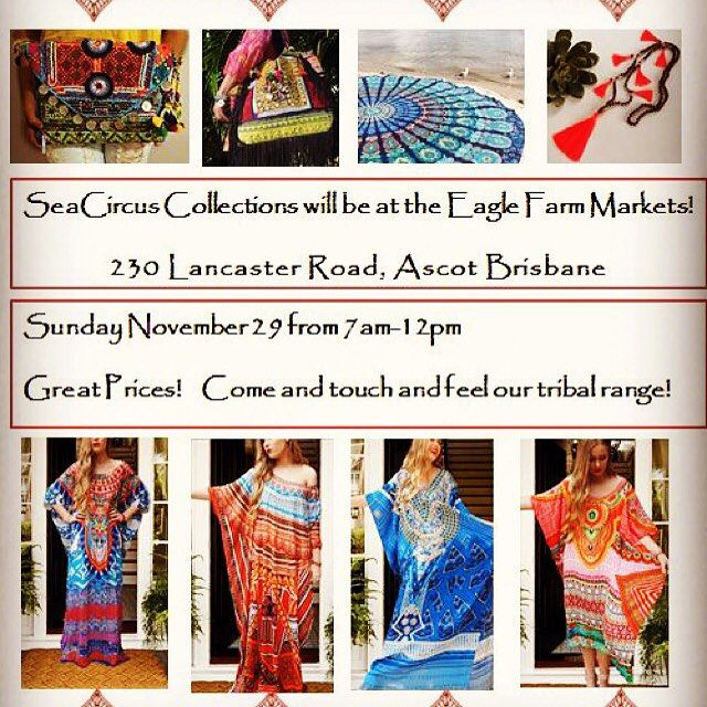 THIS SUNDAY! Eagle Farm markets!!actually touch and feel these beautiful handmade pieces. Great prices. Fabulous markets.  #seacircus #yoga #love #follow #eaglefarmmarkets #eaglefarm #markets #brisbane #brisbanecity #boho #fashion #mandala #gypsy