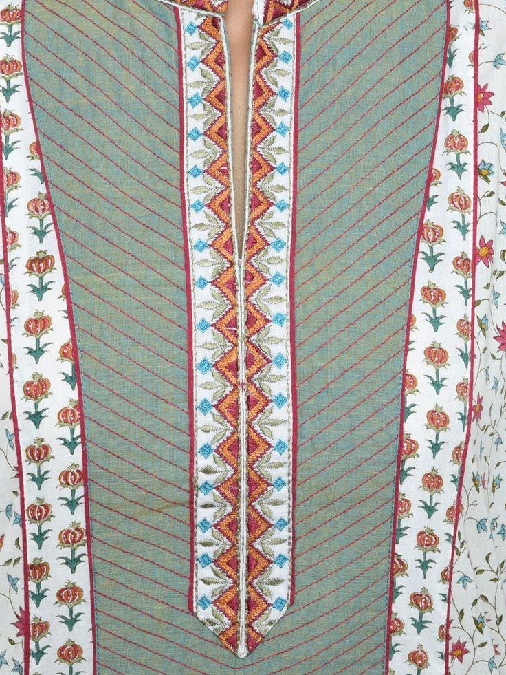 Green Cotton Embroidered Kurta