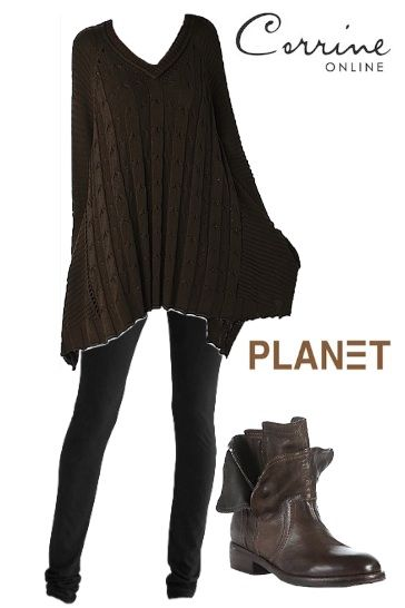 Planet Clothing Nantucket Cable Knit Tunic - Espresso / Graphite / Prune