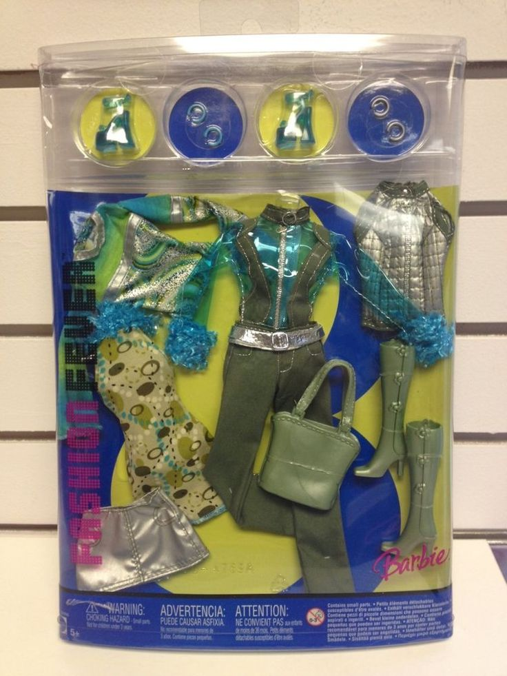 Barbie Fashion Fever 3 Interchangeable Outfits Green Pants Top Silver Vest NRFB