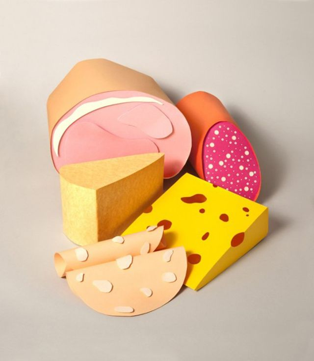 The food paper sculptures  by  artist Maria Laura Benavente