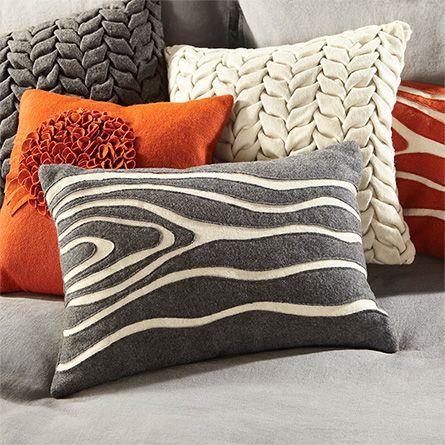 Felt Wood Grain Gray Pillow