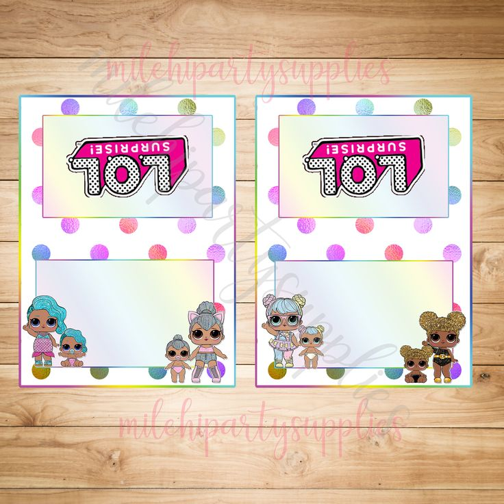 This is an adorable rainbow, LOL Surprise Doll birthday food tent labels digital file! The food card tents feature LOL Surprise Dolls from Series 1, Series 2, and their Little Sisters! This is an instant download, which means it will be available immediately for you to open, save,