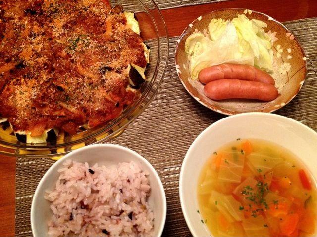 作りおきしたミートソースと、冷蔵庫の残り野菜で、お腹もリセットの夕飯♪ - 8件のもぐもぐ - 茄子ミートグラタン  野菜スープ  ボイルウインナー by ulysses