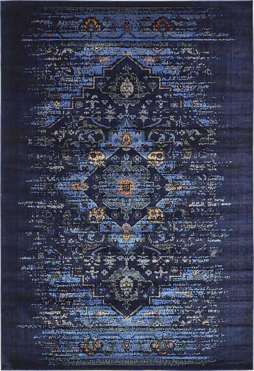 navy blue 7u0027 x 10u0027 renaissance rug area rugs esalerugs