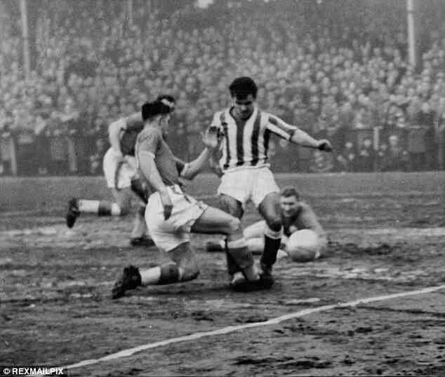 Worcester City 2 Liverpool 1 in Jan 1959 at St George's Lane. Ronnie Moran makes a crucial tackle for Liverpool in the FA Cup 3rd Round.
