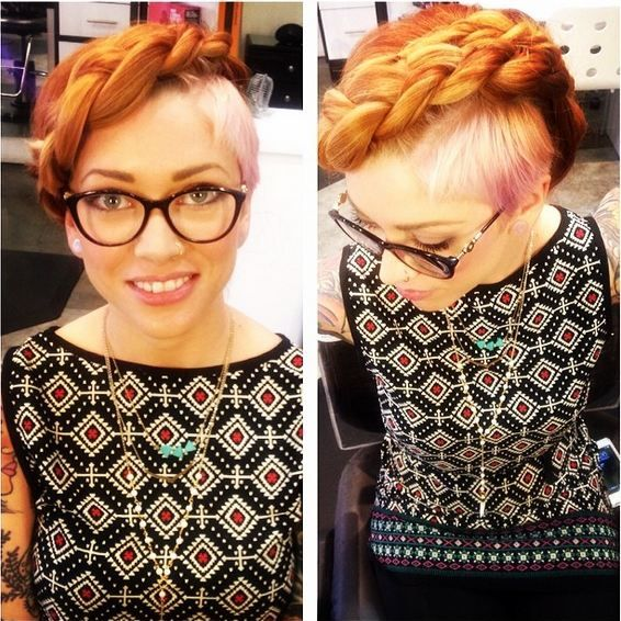 We spotted Heidi Hull's braided updo styling of fellow stylist Amy Hotling and knew we must have the steps to achieve her look!