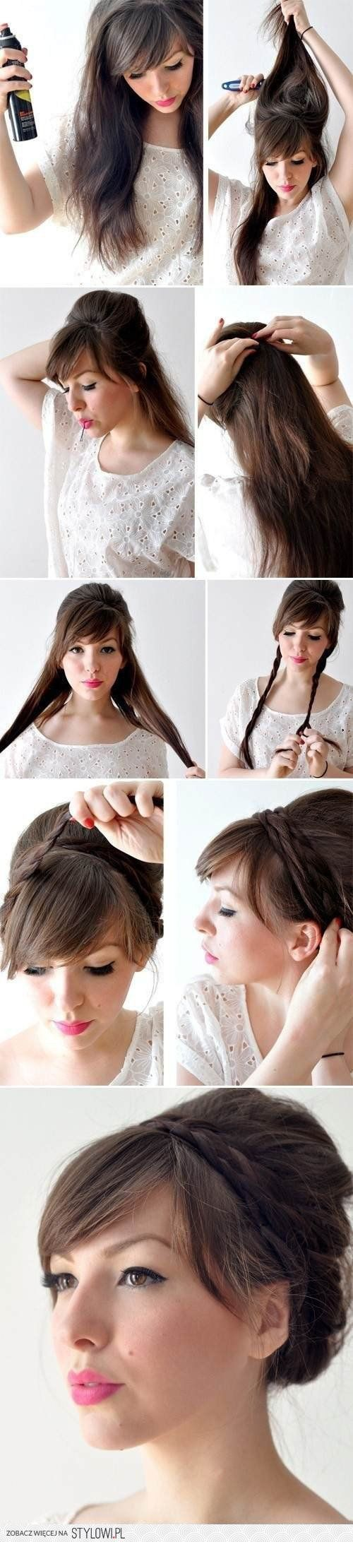 cute beehive with small milkmaid braids