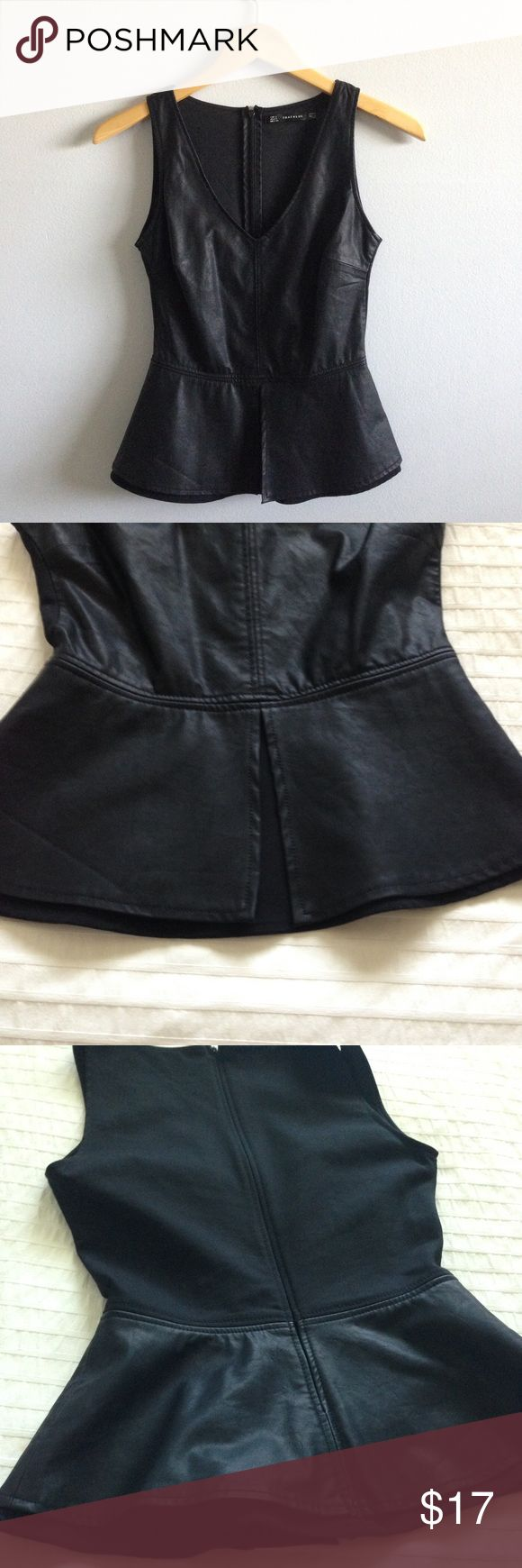 Zara Trafaluc Faux Leather Peplum Top Size S but could probably fit an XS as well. Measurements listed in the photos above ☝🏼very fitted, Zips in the back Zara Tops