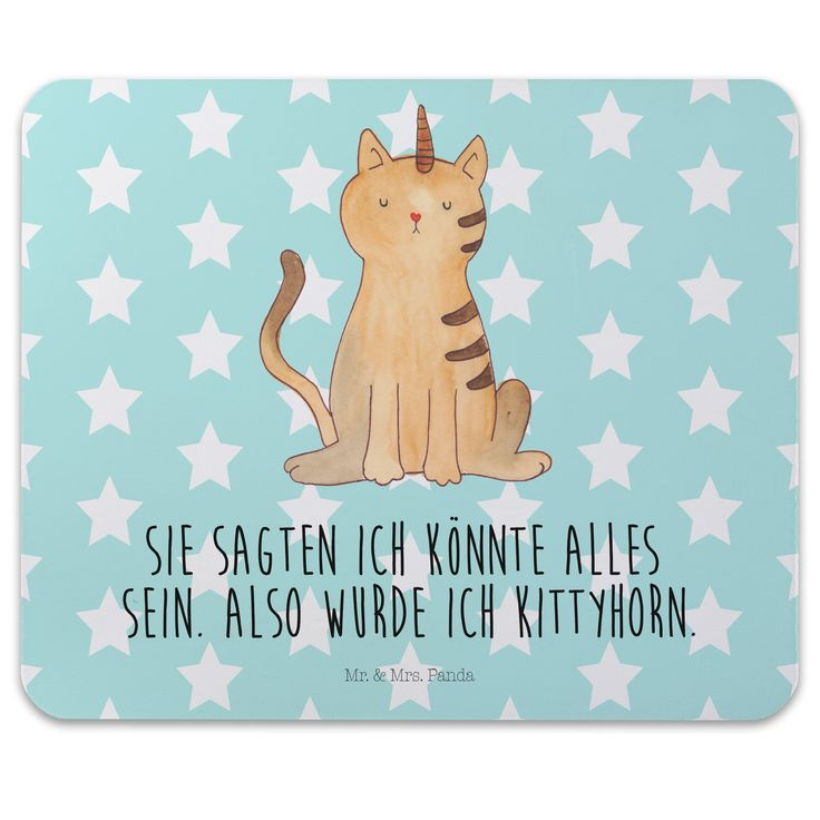 """Mauspad Druck Einhorn Katze aus Naturkautschuk  black - Das Original von Mr. & Mrs. Panda.  Ein wunderschönes Mouse Pad der Marke Mr. & Mrs. Panda. Alle Motive werden liebevoll gestaltet und in unserer Manufaktur in Norddeutschland per Hand auf die Mouse Pads aufgebracht.    Über unser Motiv Einhorn Katze  Ganz nach dem Motto """"Sie sagten, ich könnte alles sein. Also wurde ich Kittycorn!"""" Die wunderbare Einhornkatze von Mr. & Mrs. Panda    Verwendete Materialien  ##MATERIALS_DESCRIPTION##…"""