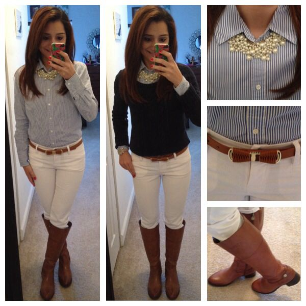 white skinny jeans, chambray shirt, navy sweater, Equestrian boots, statement pearls