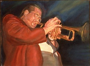 Spanky Davis, oil on linen, MJSchacker   Spanky Davis played in Toronto regularly during the golden years of jazz...he and Jim Galloway, who organized the Toronto Jazz festival for many, many years and was great Soprano sax player, passed away within weeks of each other.