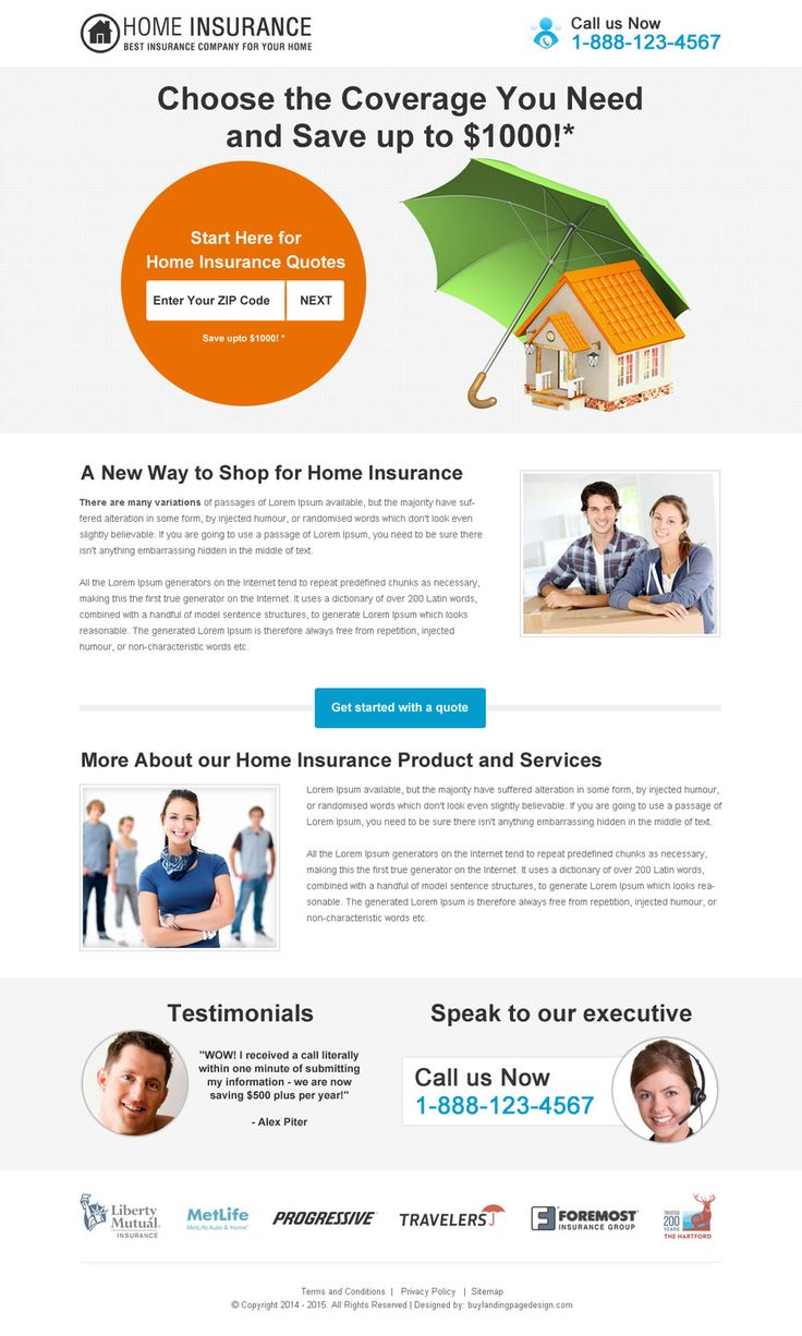 choose the home insurance coverage you need clean and minimal landing page design
