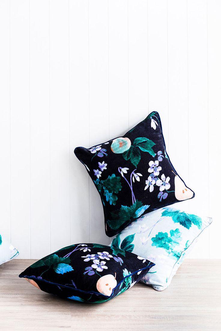 PRE ORDER – Cushion – Poached Pear – Navy – Sanctuary Studio – Boutique Linens