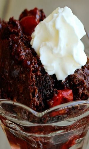 BLACK FOREST DUMP CAKE Was very good, rich and decadent.  Will make again but not often because I don't want to be the size of a barn!!!!!