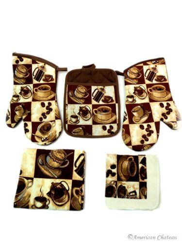 New Coffee Kitchen 5 Pc Linen Towel Set Towels Oven Mitt And Pot Holder Cafe