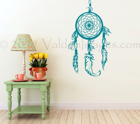 Teal dream catcher wall decal boho wall decal wall by ValdonImages #bohemiandecor #homedecor #bohodecor