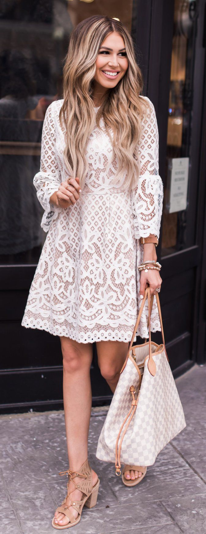 #spring #outfits White Lace Dress & Checked Tote Bag