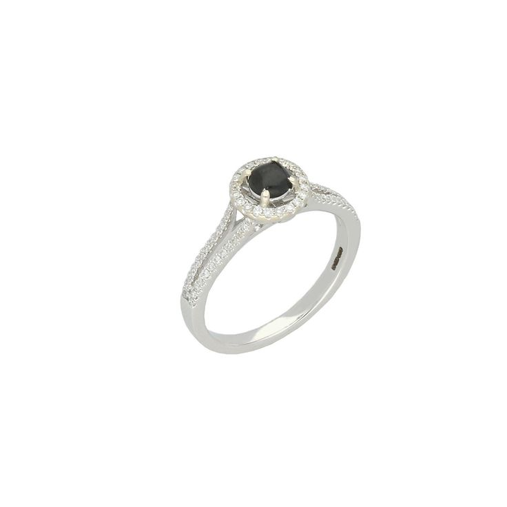 W Hamond Ring Whitby Jet and 18ct White Gold Diamond Round Split Shank Half Eternity R894 | W Hamond - The Original Whitby Jet Store Est.1860