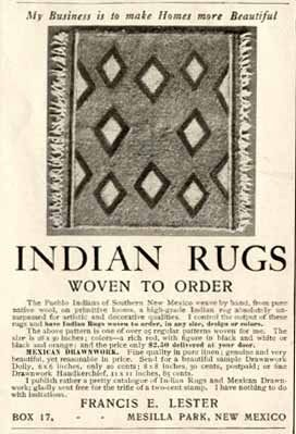 1903 Lester Advertisement For Indian Rugs Woven To Order