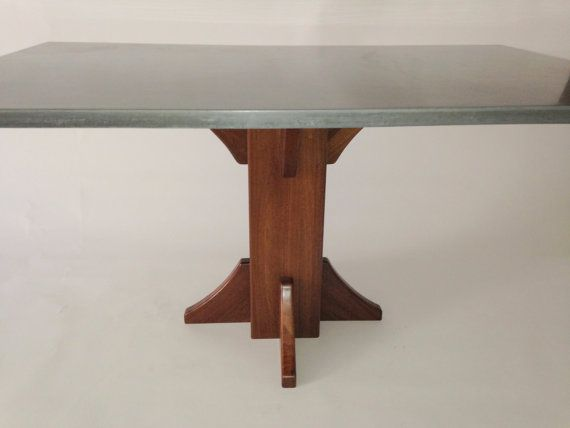 Concrete Dining Table with Walnut Pedestal by 910castings on Etsy