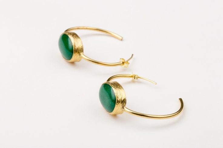 No Bounderies Earrings_Jade - Gold plated