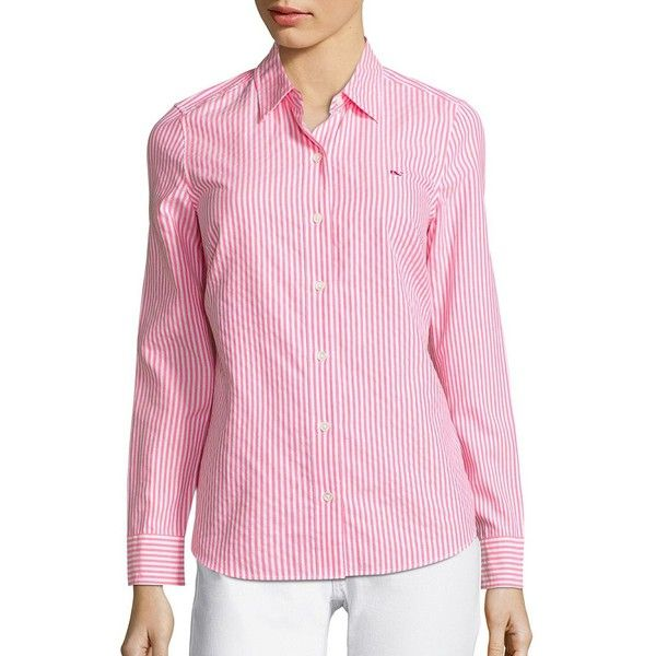 Vineyard Vines Women's Oxford Stripe Button Down Shirt ($88) ❤ liked on Polyvore featuring tops, bright coral, pink striped shirt, pink oxford shirt, pink top, pink button up shirt and pink long sleeve shirt