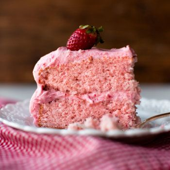 How to make homemade strawberry cake with strawberry frosting completely from scratch. No more boxed cake mix or artificial flavor with this perfect recipe!