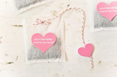 cute tea idea - your friendship warms my heart - For Valentine's Day