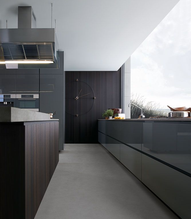 Base units for sink and tall units with ferro glossy lacquered doors.