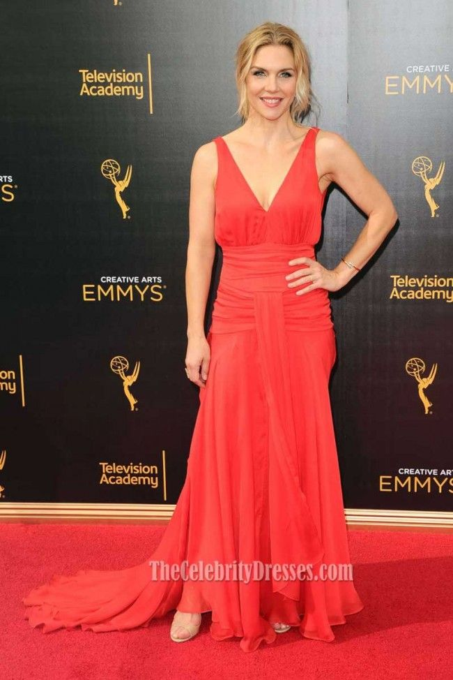 Rhea Seehorn Red Chiffon V-neck Evening Gown Emmys 2016 - TheCelebrityDresses