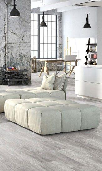Pvc vloer. Geschikt voor alle ruimten zoals de badkamer, woonkamer, keuken of slaapkamer. Past zowel in een modern interieur als een industrieel Interieur. Geschikt voor vloerverwarming. Bestel tot 6 gratis vloerstalen op onze website. Pro Fix - Dark slate: Pvc klik tegels (858) € 29,95 / m2 (incl. BTW). #pvcvloer #pvc #vloer #badkamer #woonkamer #keuken #houtlook #dark #donker #zwart #grijs | Home Stick - Loft grey: Zelfklevende pvc vloer (765) € 17,95 / m2 (incl. BTW)