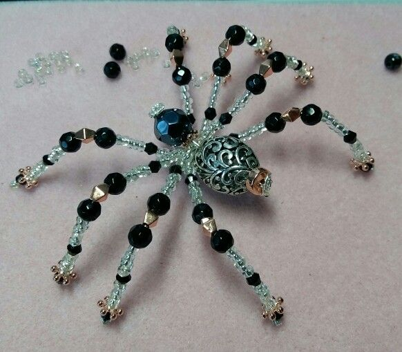 Beaded spider with a hint of steampunk