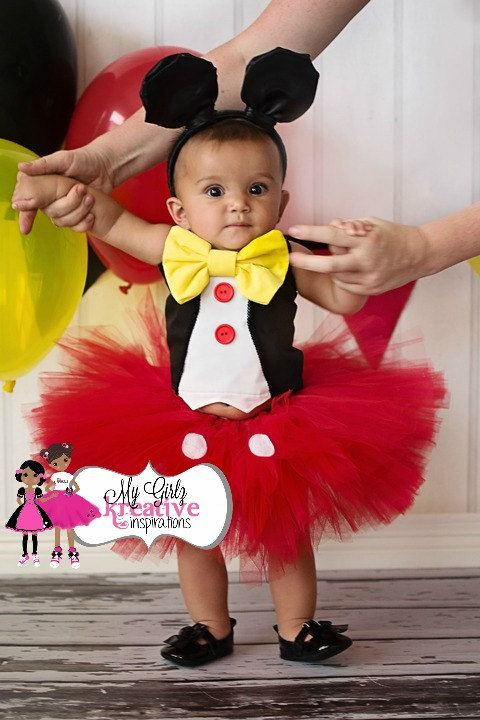 Little Girl Mouse Tuxedo Tutu Outfit For Mickey Mouse Themed Birthday Party Baby Pageant ...