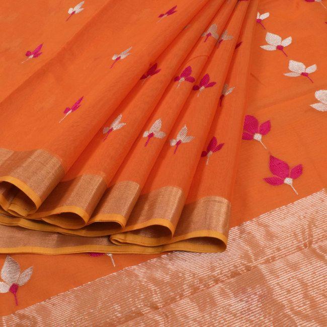 Marm Orange Handwoven Chanderi Silk Cotton Saree With Ganga Jamuna Border & Floral Motifs 10007925 - profile1 - AVISHYA.COM