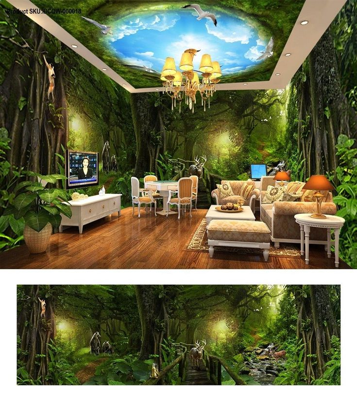 Deep forest forest theme space entire room wallpaper wall