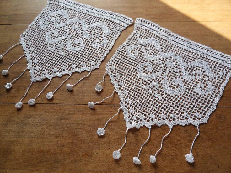 rideau crochet fait main dentelle elisabeth's arabesques : Textiles et tapis par foux-elle